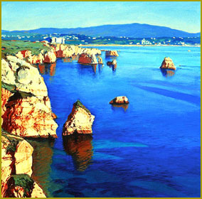 Cliffs in Blue and Gold, Algarve Coast, Portugal